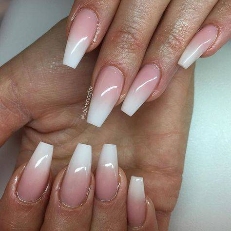 coffin pink and white ombre nails short  different nail